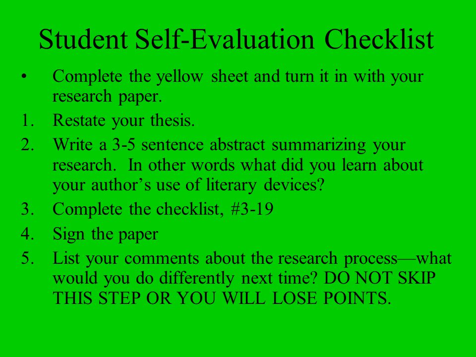 Student Self-Evaluation Checklist