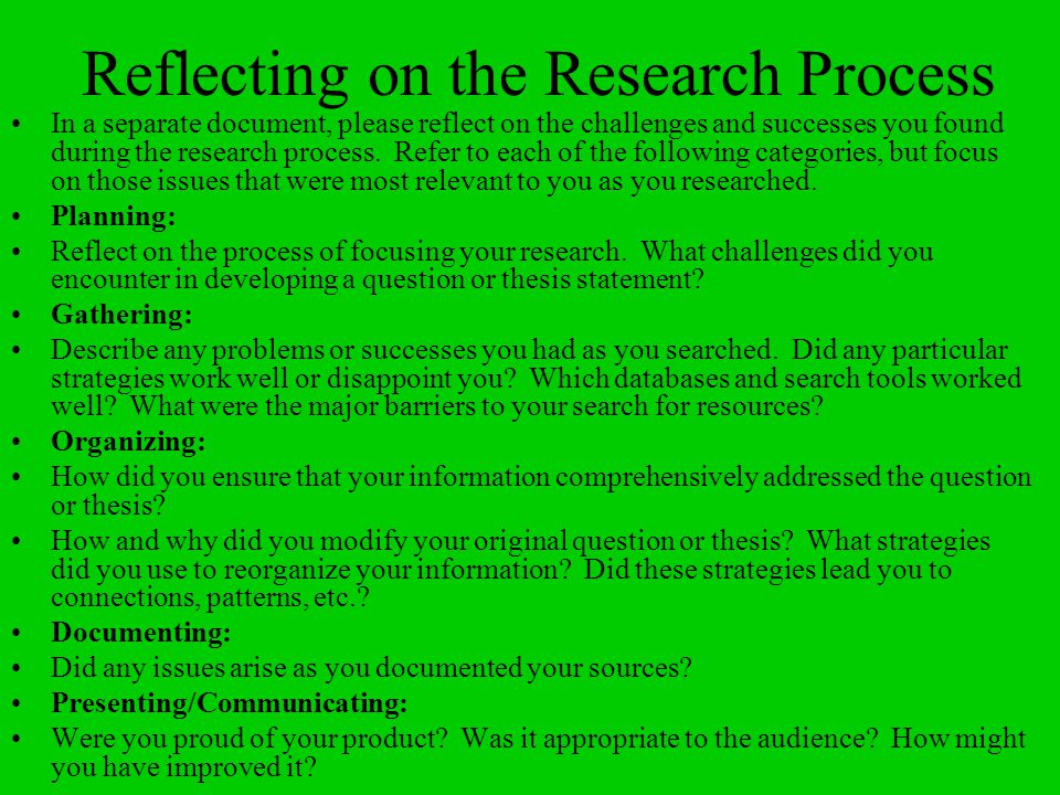 Reflecting on the Research Process