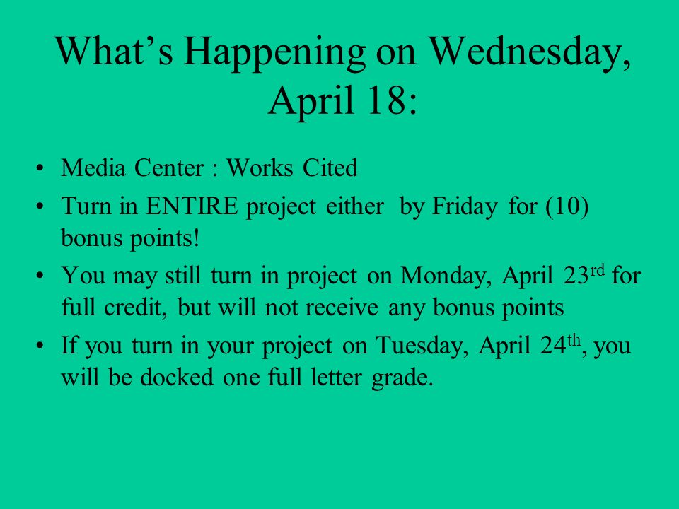 What's Happening on Wednesday, April 18: