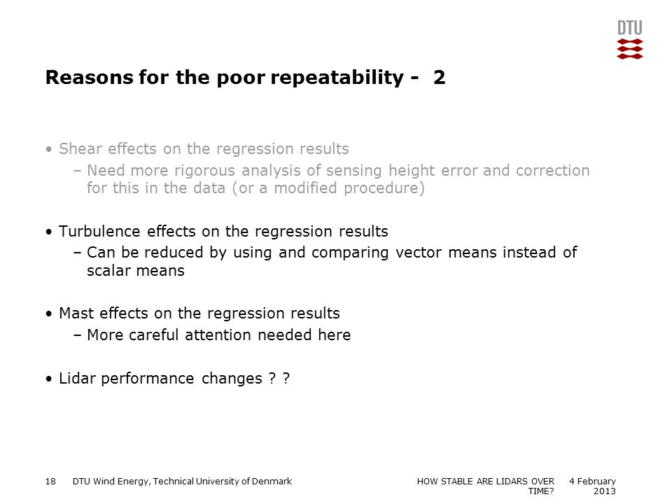 Reasons for the poor repeatability - 2
