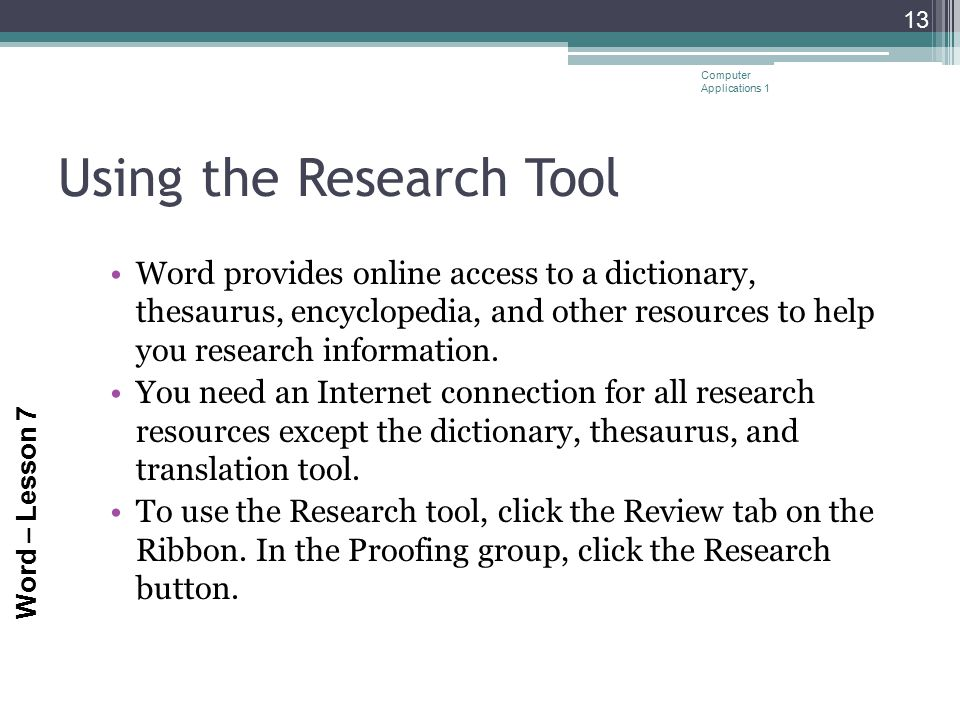Using the Research Tool