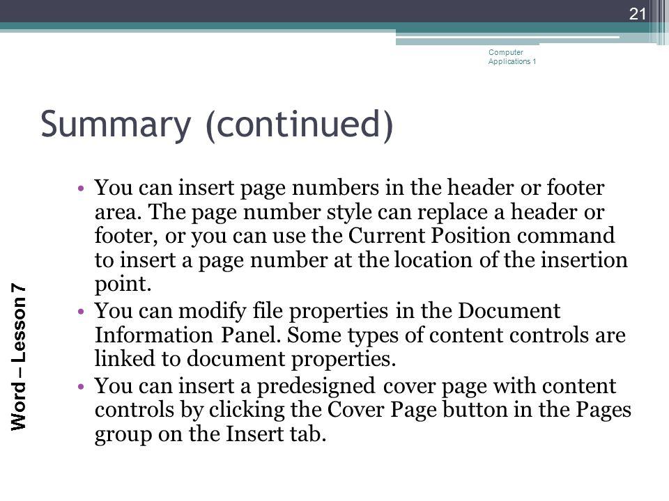 Computer Applications 1
