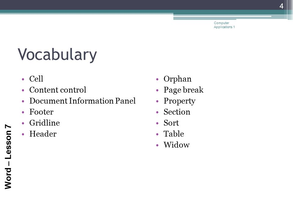 Vocabulary Cell Content control Document Information Panel Footer