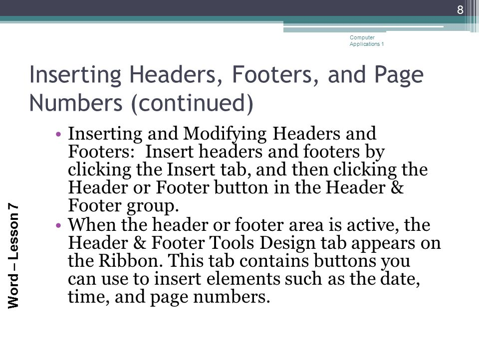 Inserting Headers, Footers, and Page Numbers (continued)