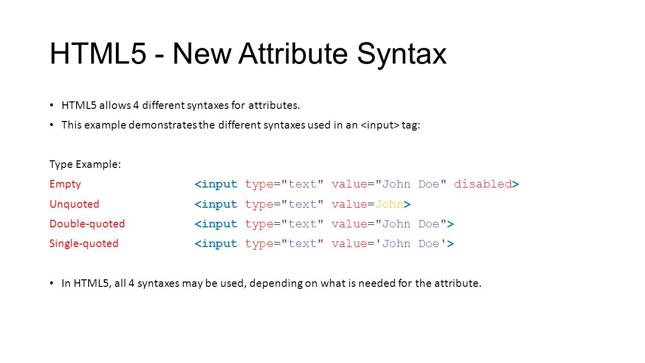 HTML5 - New Attribute Syntax
