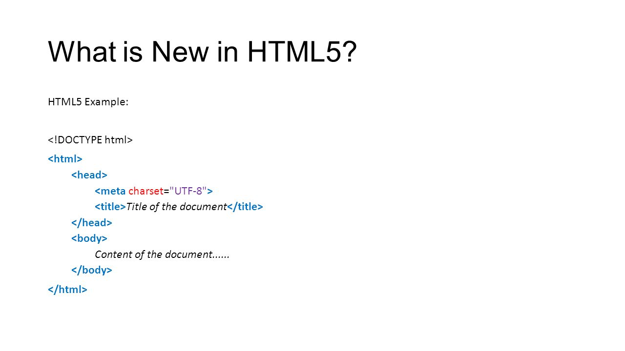 What is New in HTML5