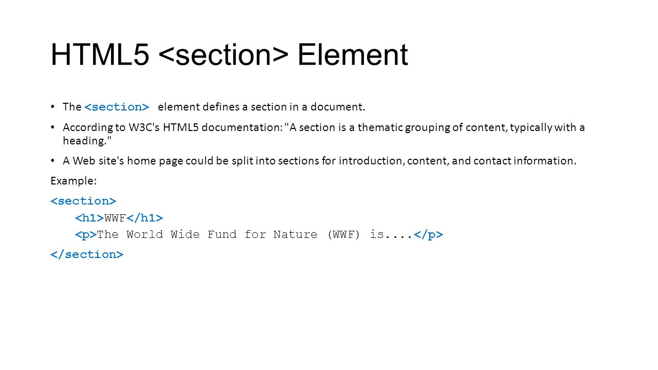 HTML5 <section> Element