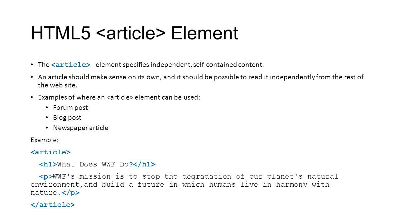 HTML5 <article> Element