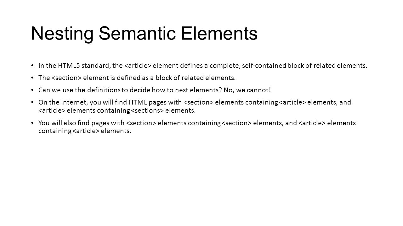 Nesting Semantic Elements