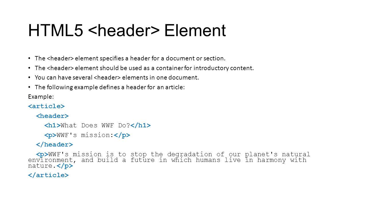 HTML5 <header> Element