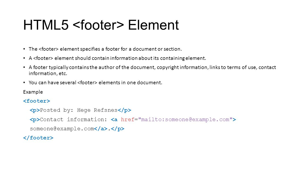 HTML5 <footer> Element