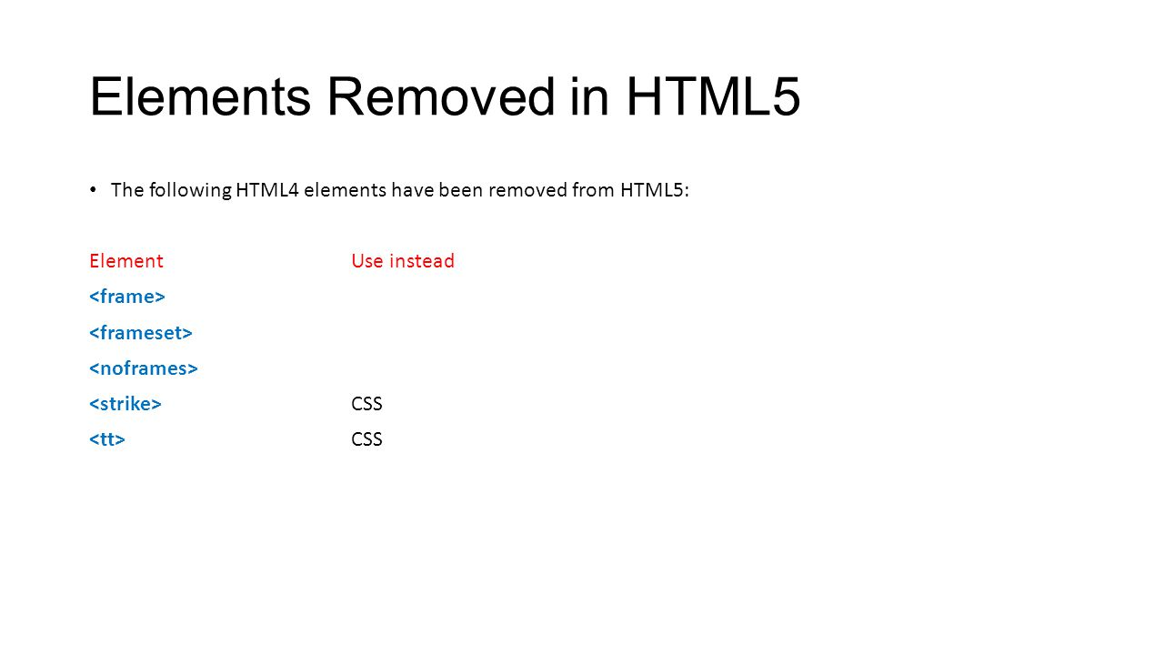 Elements Removed in HTML5