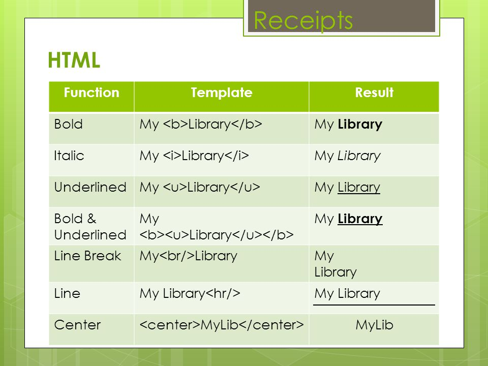 Receipts HTML Function Template Result Bold
