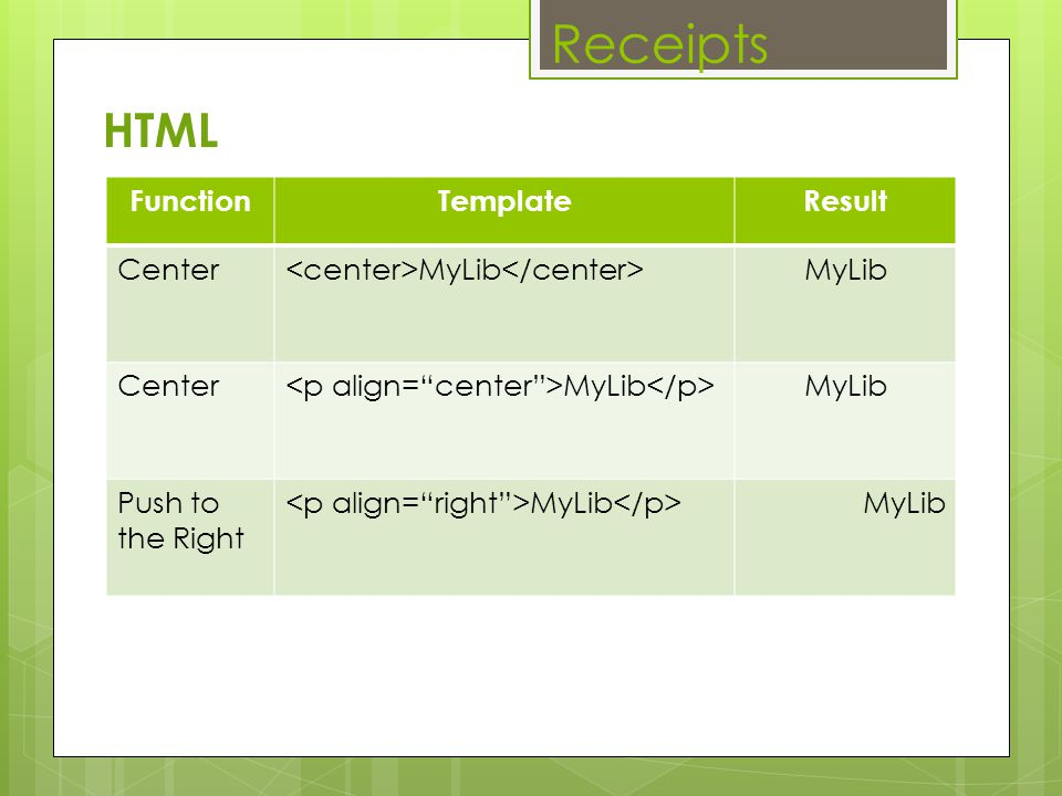 Receipts HTML Function Template Result Center