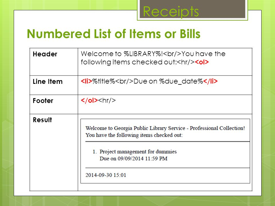 Receipts Numbered List of Items or Bills Header