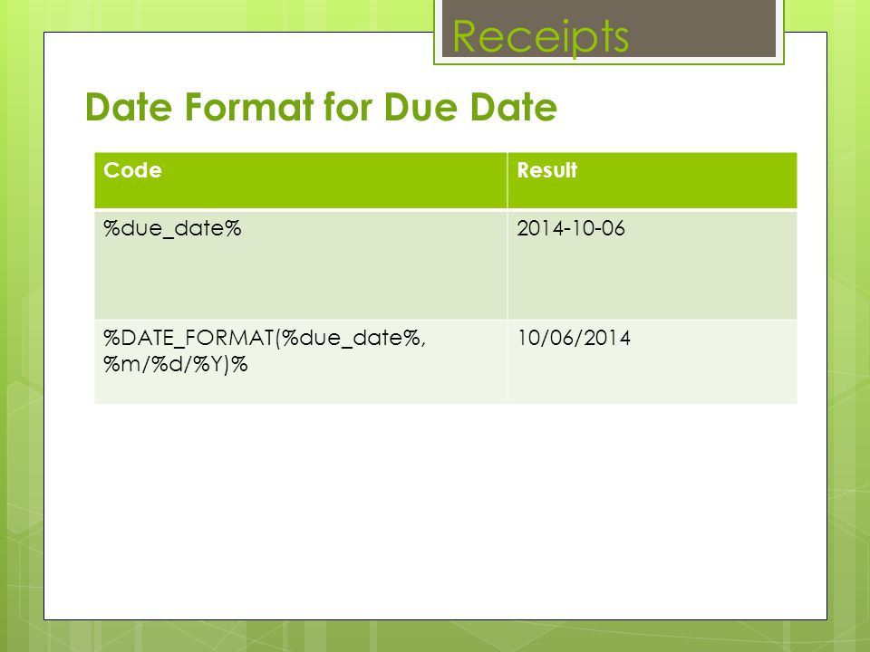 Receipts Date Format for Due Date Code Result %due_date% 2014-10-06