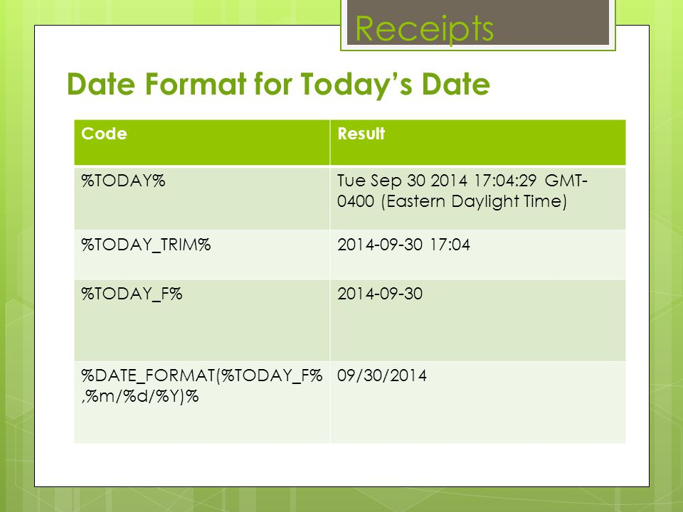 Receipts Date Format for Today's Date Code Result %TODAY%