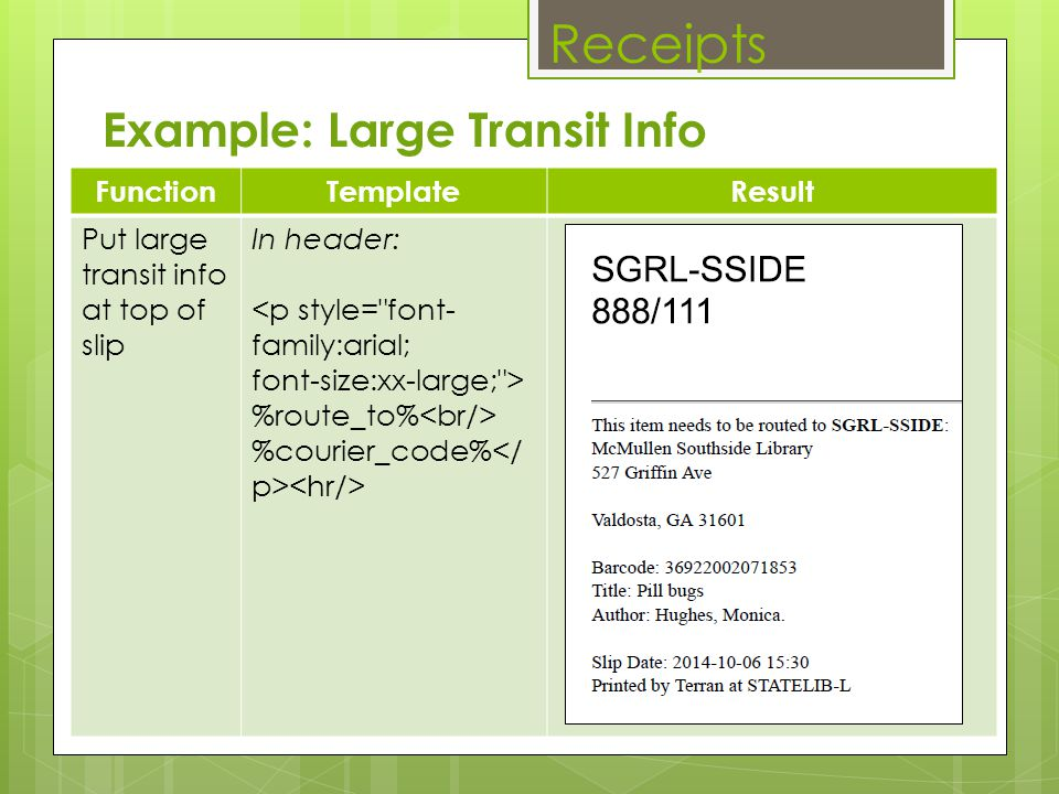 Receipts Example: Large Transit Info Function Template Result