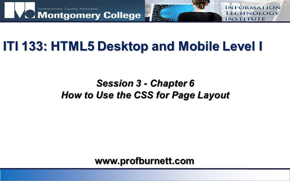 ITI 133: HTML5 Desktop and Mobile Level I