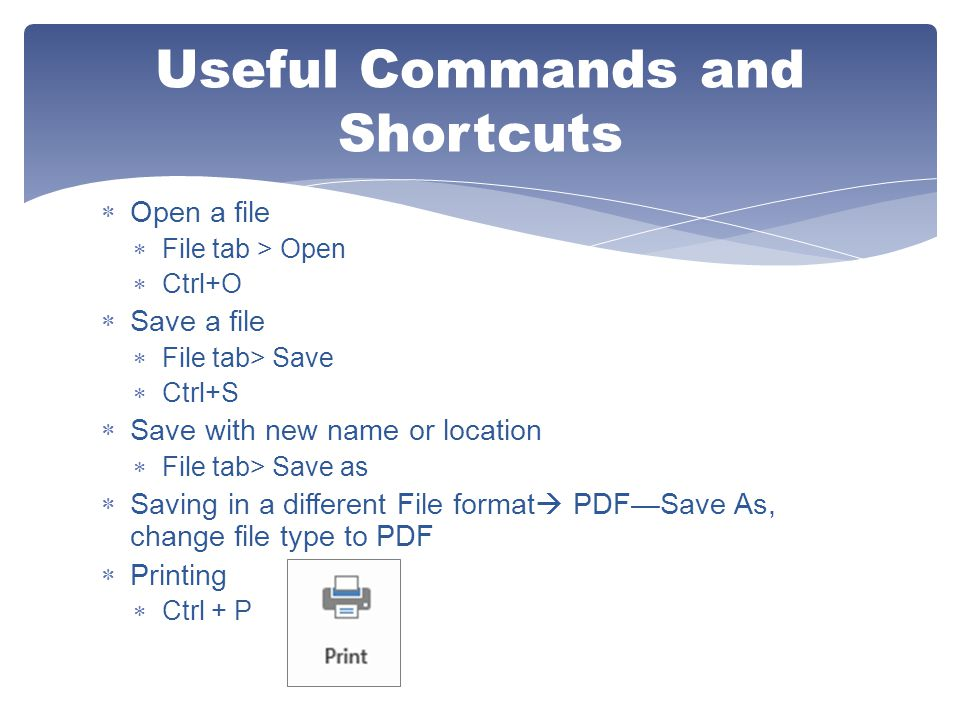 Useful Commands and Shortcuts