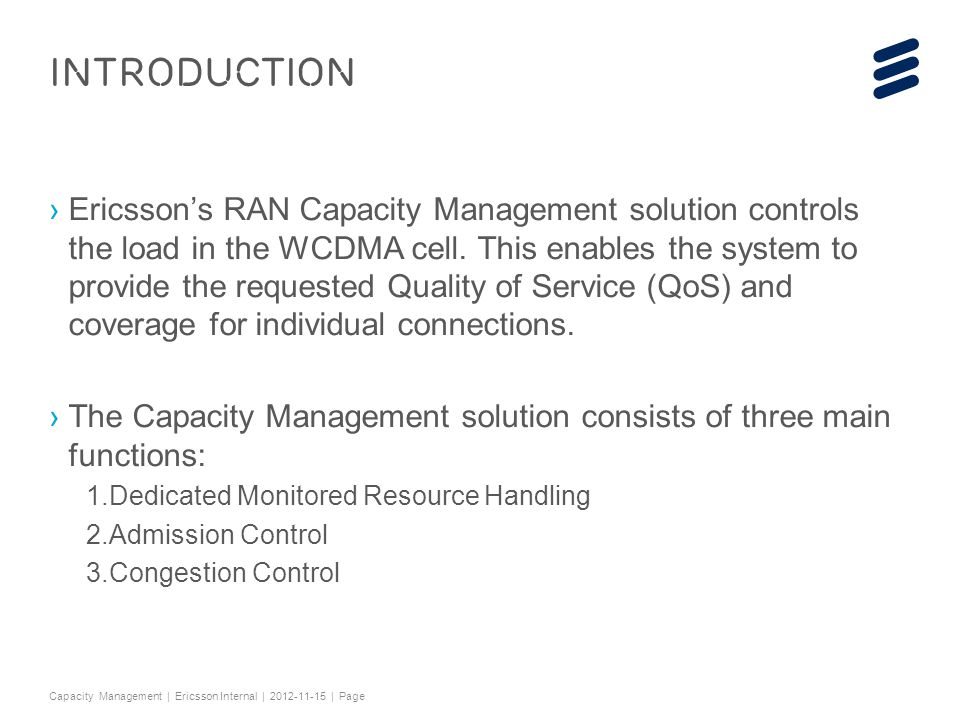 3G RAN Capacity Management