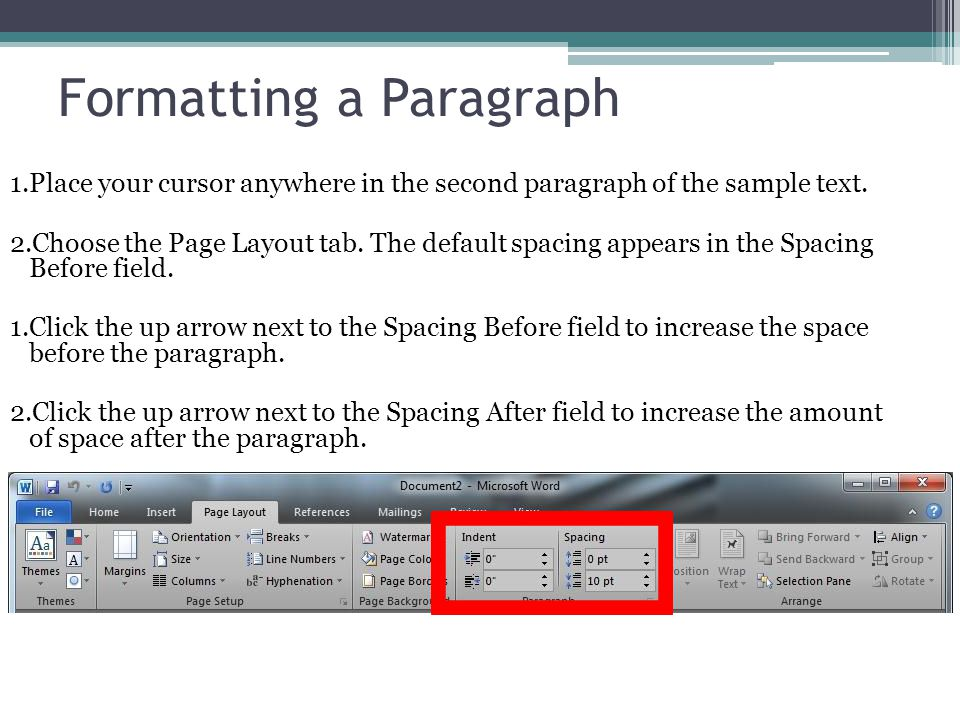 Formatting a Paragraph