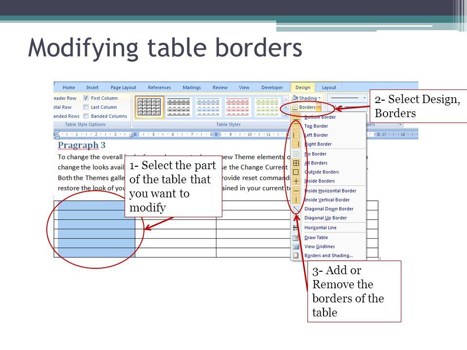 Modifying table borders