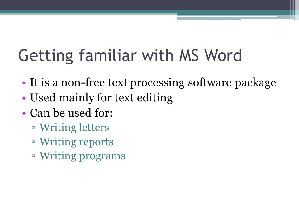 Getting familiar with MS Word