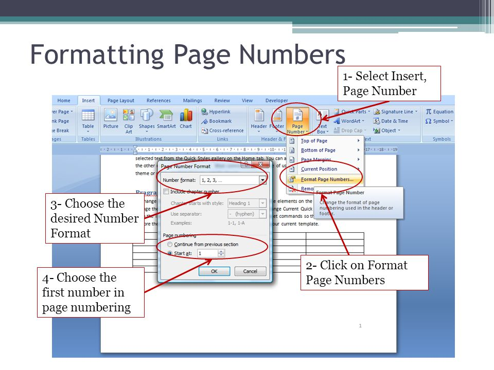 Formatting Page Numbers