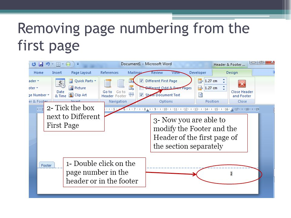 Removing page numbering from the first page