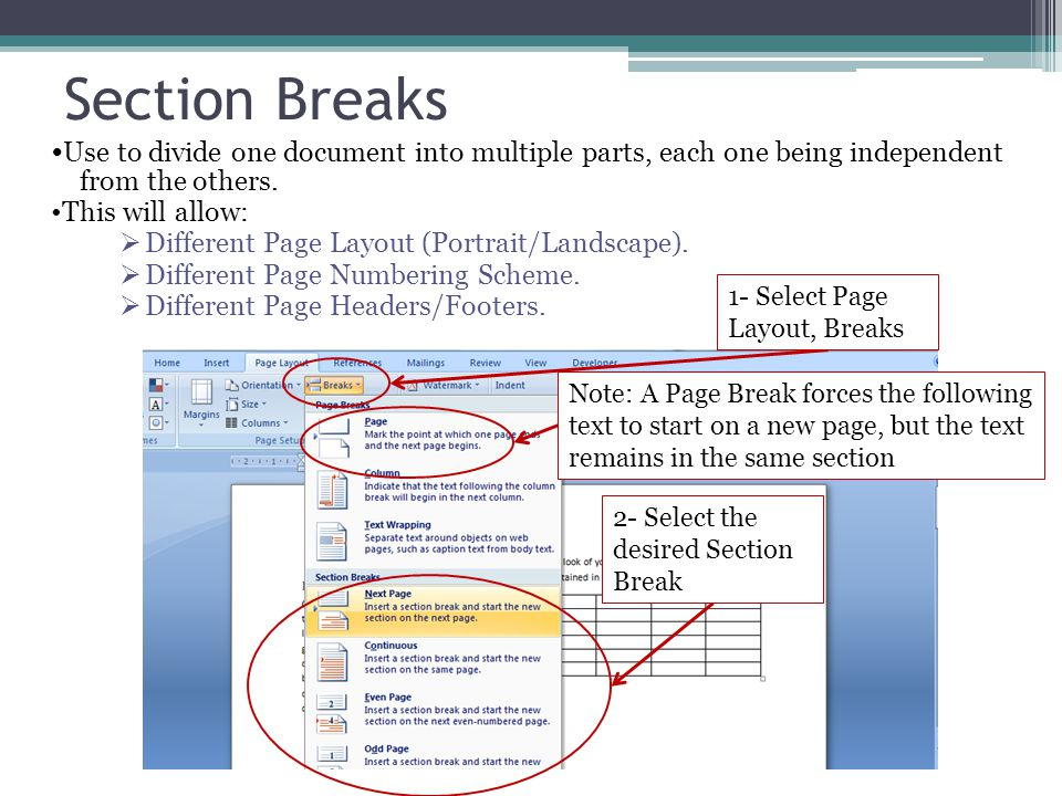 Section Breaks •Use to divide one document into multiple parts, each one being independent from the others.