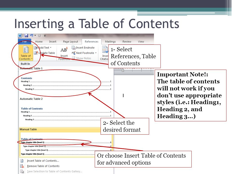 Inserting a Table of Contents