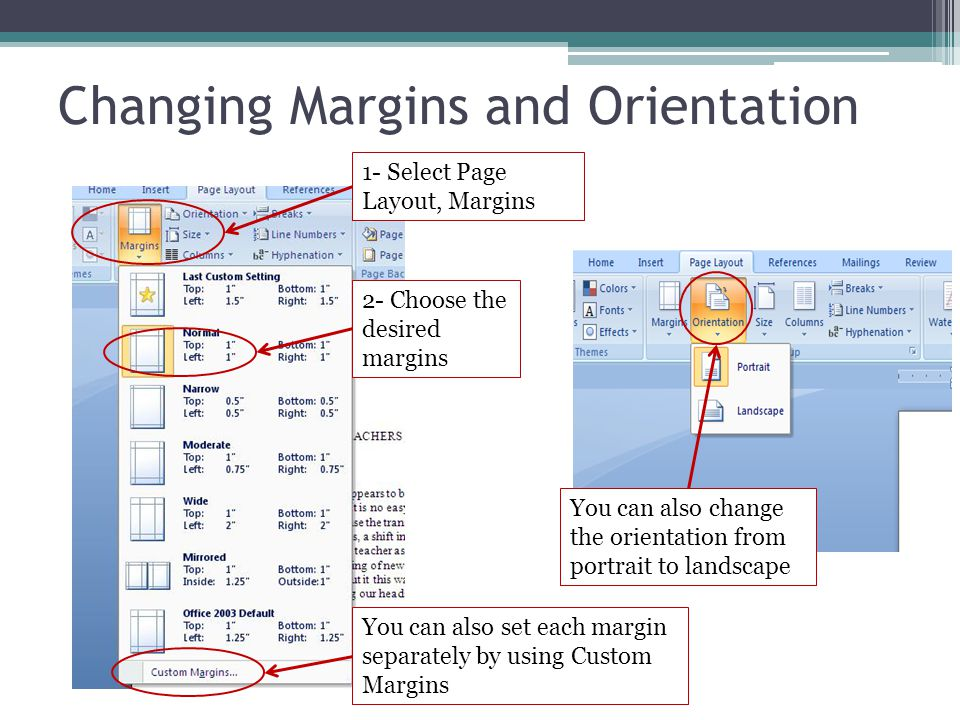 Changing Margins and Orientation