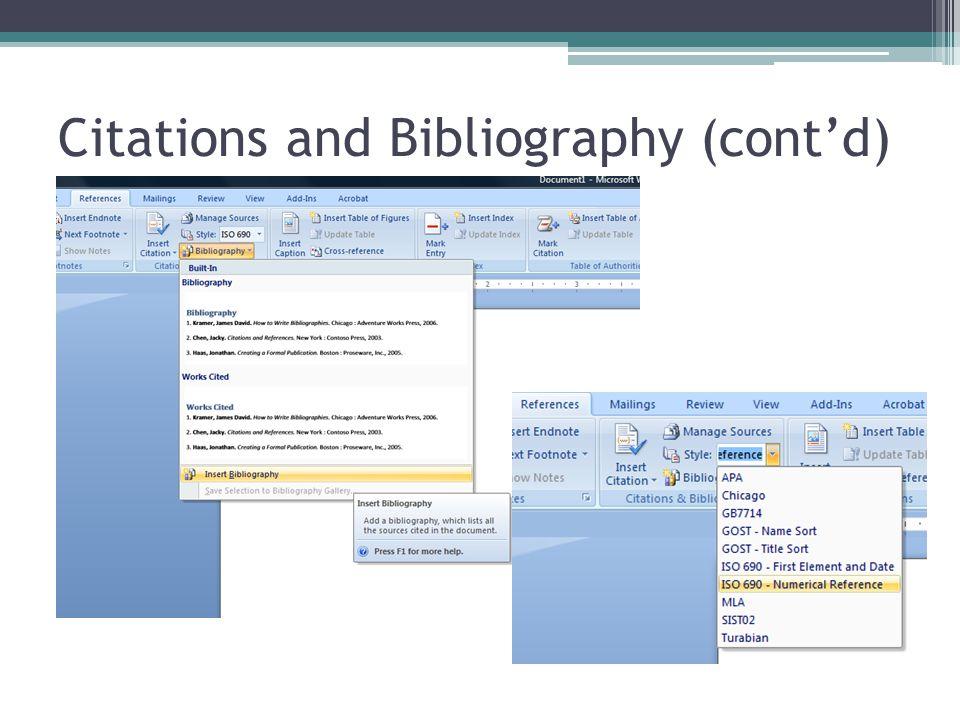 Citations and Bibliography (cont'd)