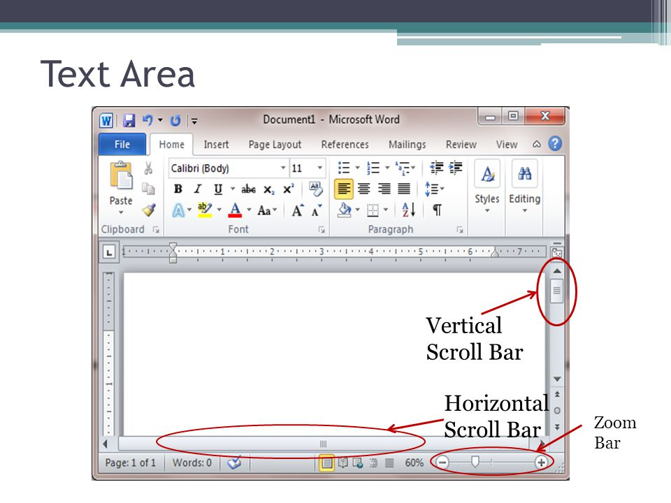 Text Area Vertical Scroll Bar Horizontal Scroll Bar Zoom Bar