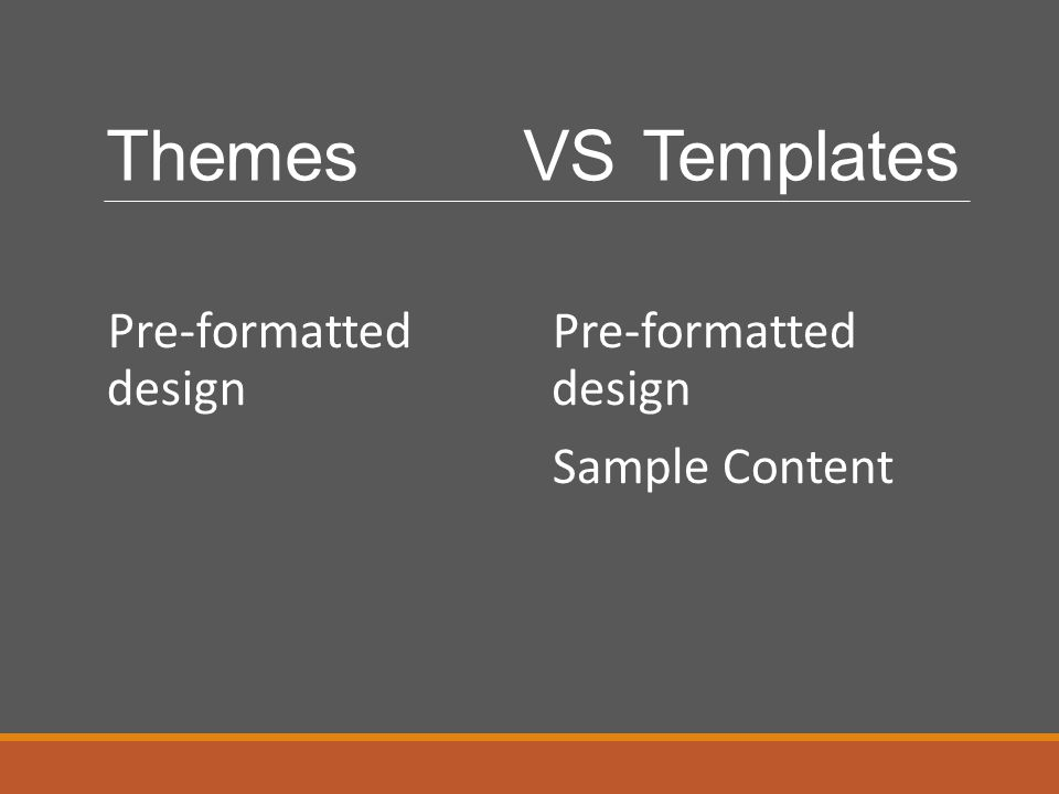 Themes VS Templates Pre-formatted design Pre-formatted design