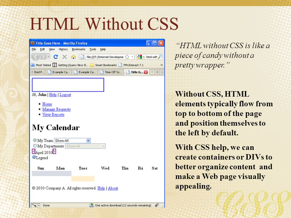 HTML Without CSS HTML without CSS is like a piece of candy without a pretty wrapper.