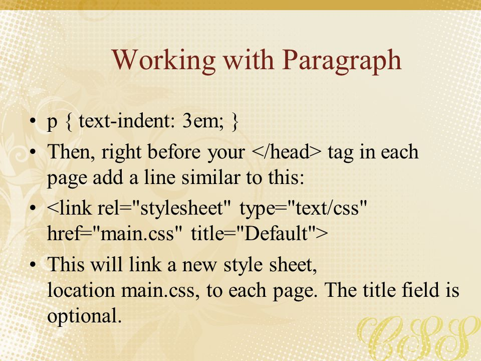 Working with Paragraph
