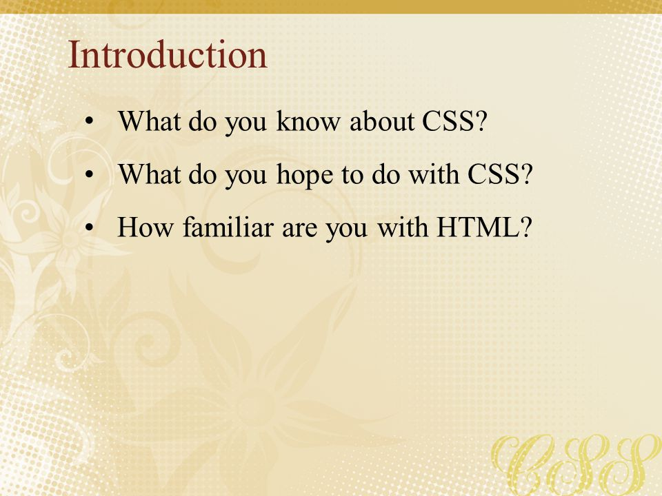 Introduction What do you know about CSS