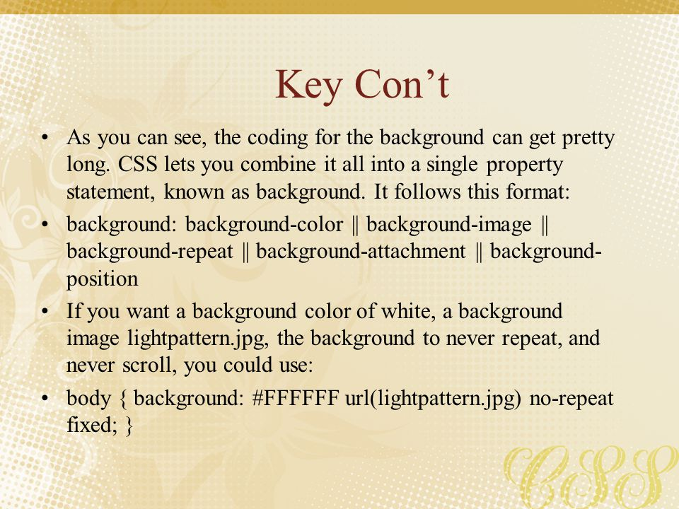 Key Con't
