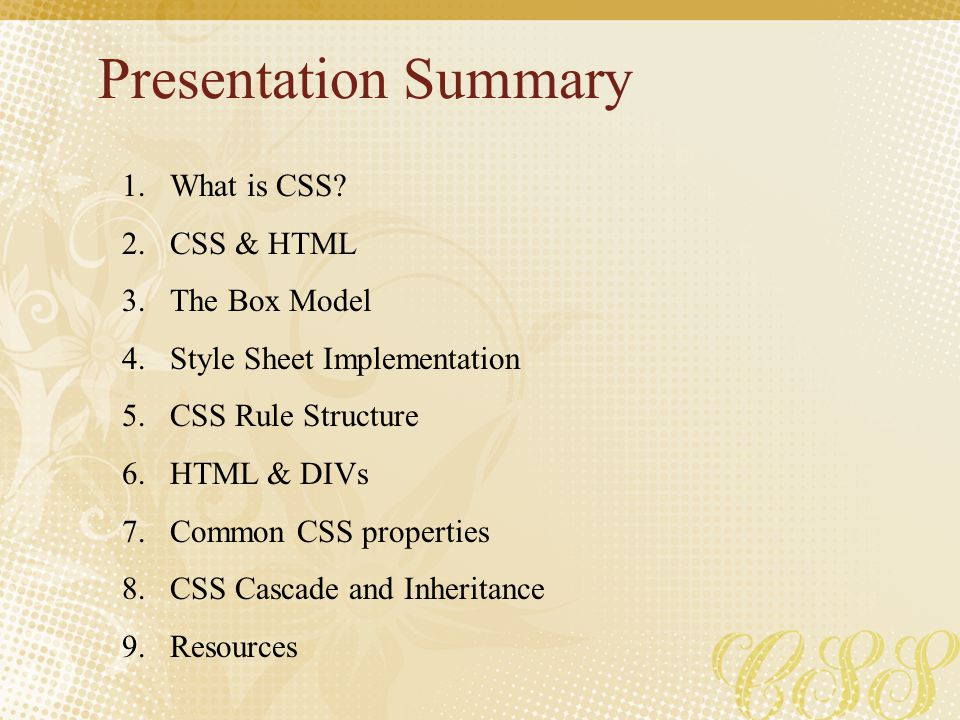 Presentation Summary What is CSS CSS & HTML The Box Model