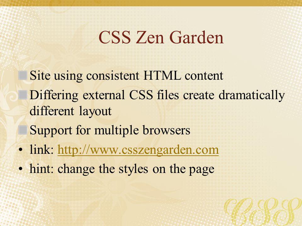 CSS Zen Garden Site using consistent HTML content