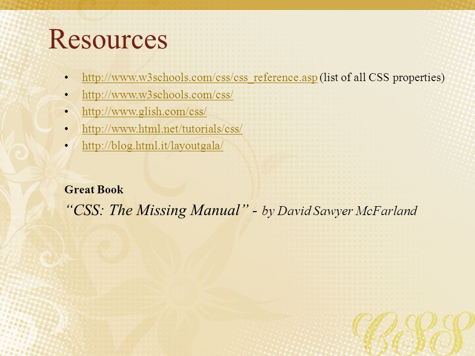 Resources CSS: The Missing Manual - by David Sawyer McFarland