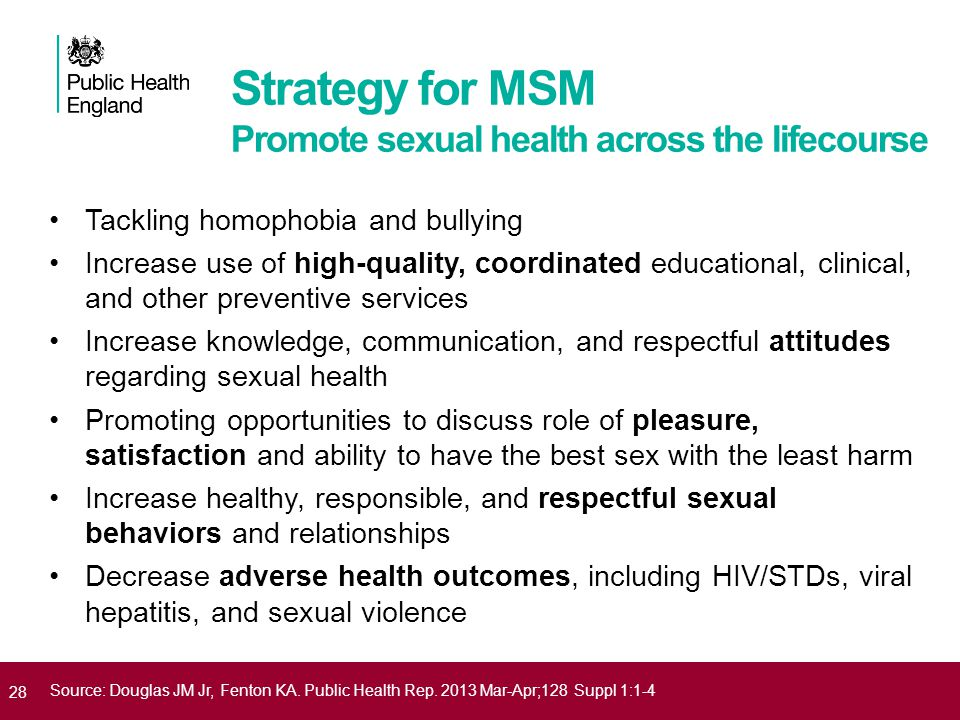 Strategy for MSM Promote sexual health across the lifecourse