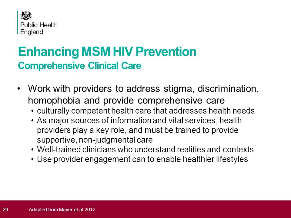 Enhancing MSM HIV Prevention Comprehensive Clinical Care