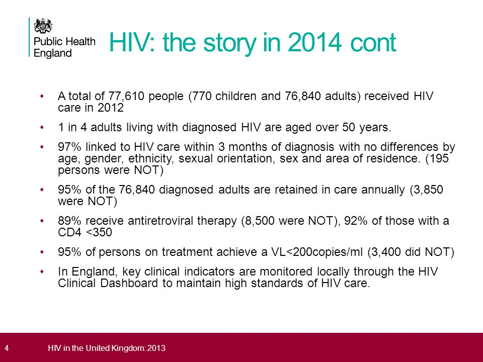 HIV: the story in 2014 cont A total of 77,610 people (770 children and 76,840 adults) received HIV care in 2012.