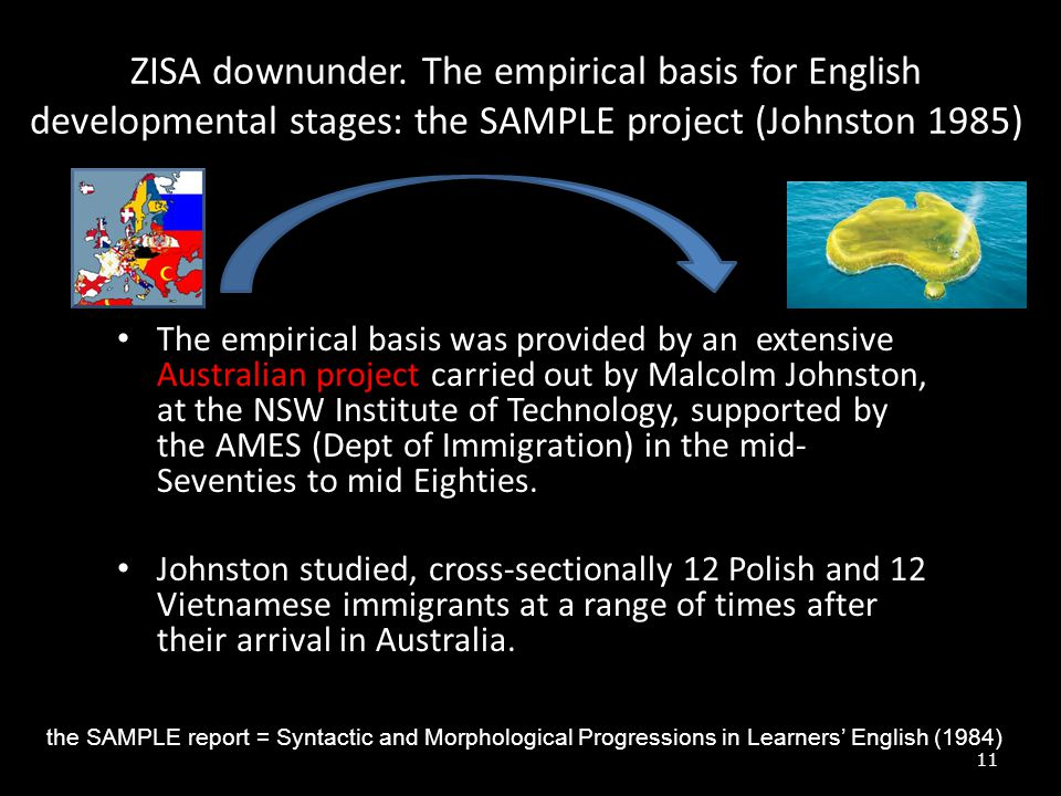 ZISA downunder. The empirical basis for English developmental stages: the SAMPLE project (Johnston 1985)