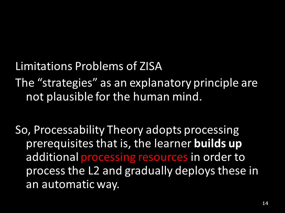 Limitations Problems of ZISA