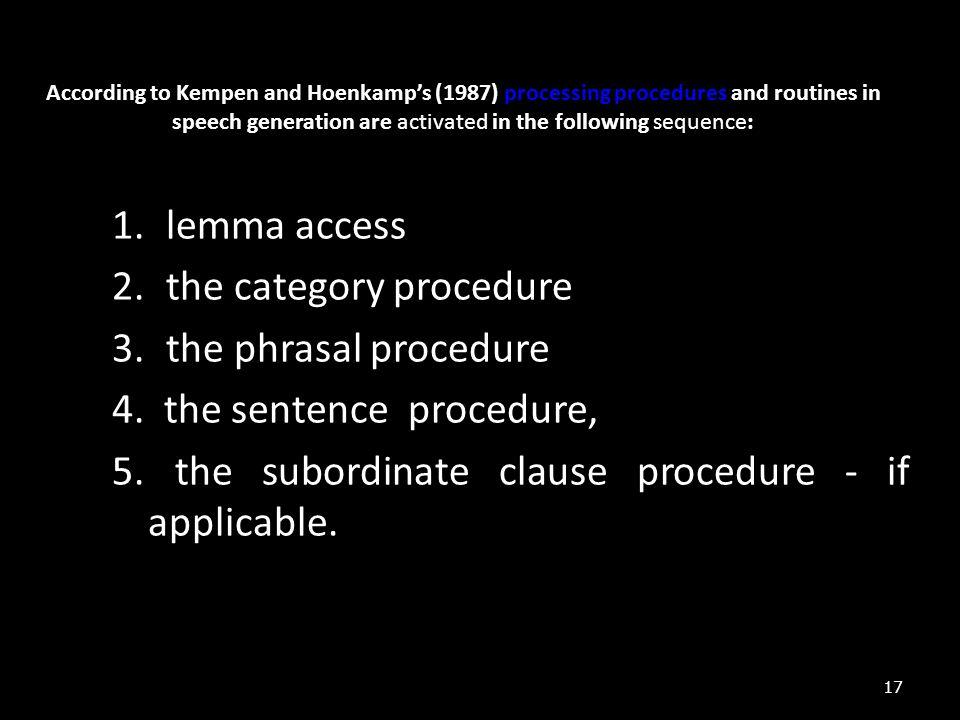 the category procedure the phrasal procedure