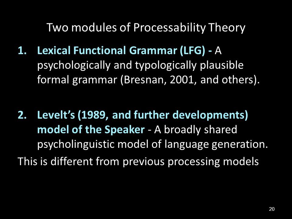 Two modules of Processability Theory